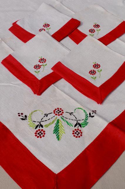 lot of vintage table linens, cotton & linen cloth ...