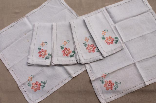 Lot Of Vintage Table Linens, Cotton U0026 Linen Cloth Tablecloths, Napkins U0026  Sets