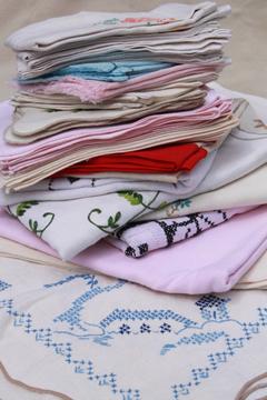 lot of vintage table linens, cotton & linen cloth tablecloths, napkins & sets