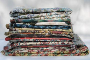 lot vintage upholstery fabric sample pieces and remnants, tapestry, jacquard