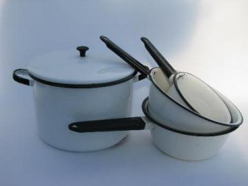 lot vintage white / black band graniteware enamel kitchenware, pots and pans