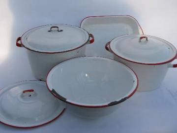 lot vintage white / red band graniteware enamel kitchenware, pots, pans, bowl