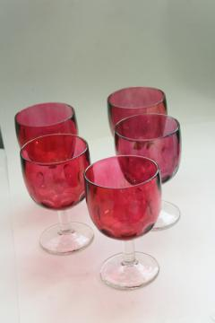 lot vintage wine glasses or water goblets, ruby cranberry stain glass flashed color