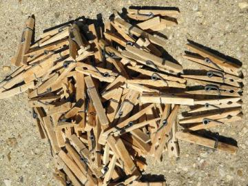 lot vintage wood wooden clothespins clothes pegs, old primitive patina