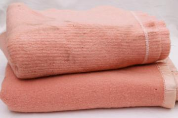 lot vintage wool bed blankets in pink, shabby shrunken felted fabric for cutters or rugs