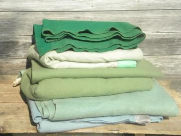 lot vintage wool blankets, blue and green, felted cutting fabric for rugs or crafts?