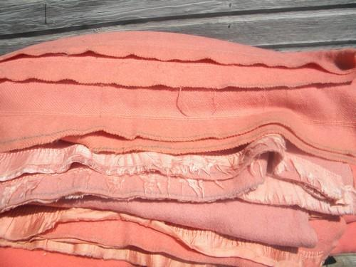 lot vintage wool blankets, coral and pink, felted cutting fabric for rugs or crafts?