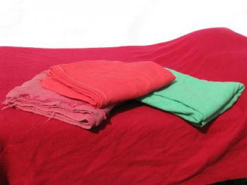lot vintage wool blankets, pinks & green, felted cutting fabric for rugs or crafts?