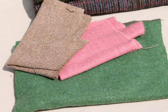 lot vintage wool fabric scraps & rug strips for rugmaking, braided & hooked rugs