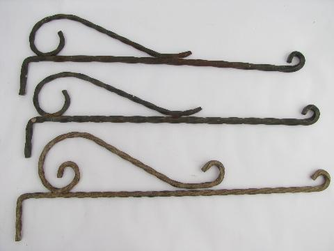 lot vintage wrought iron hangers or sign holders, antique curtain rods