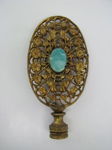 Lovely Large Vintage Lamp Shade Finial, Ornate Brass Filigree, Turquoise  Stone