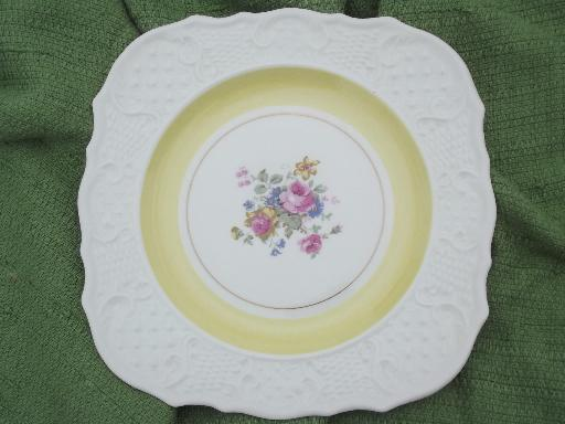 Lovely Old Embossed China Flowers And Pastel Band Border & Square Salad Plate - Castrophotos