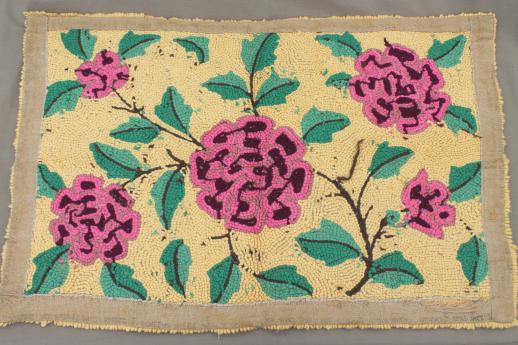 lovely old handmade rug, heavy cotton yarn hooked rug w/ vintage pink roses floral