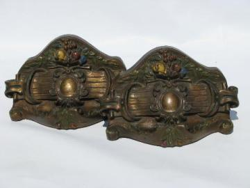 lovely ornate painted chalkware book ends, vintage bookends