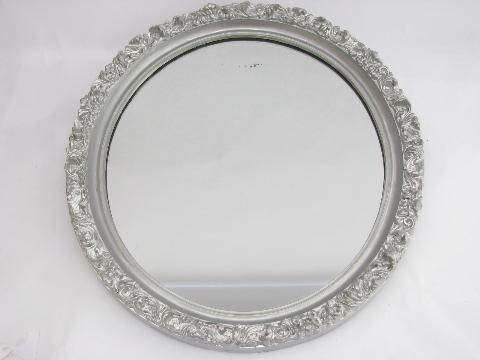 Lovely Ornate Vintage Oval Mirror Antique Silver Gesso Wood Frame
