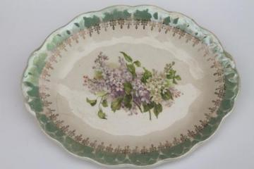lovely shabby old antique lilac floral china serving platter or tray
