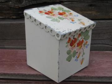 lovely shabby vintage tole lace edge metal wall box, painted flowers