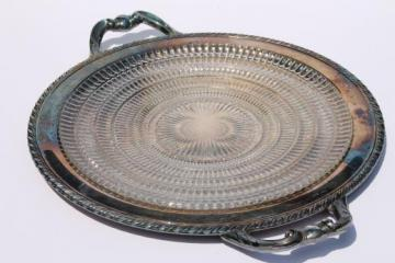lovely vintage tarnished silver serving tray w/ glass platter or cake plate