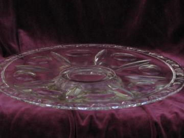 low footed cake stand, vintage pressed pattern glass torte plate