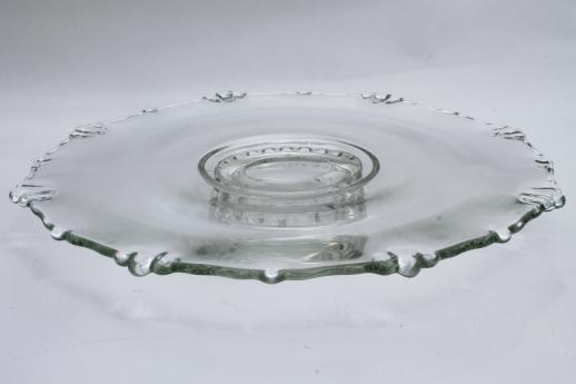 low glass cake stand, vintage Village Guild Indiana glass footed dessert plate
