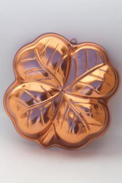 lucky clover jello mold or cake pan, retro copper aluminum pan four-leaf clover shape