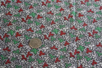 lucky hidden four leaf clover shamrock print cotton fabric, 30s 40s vintage