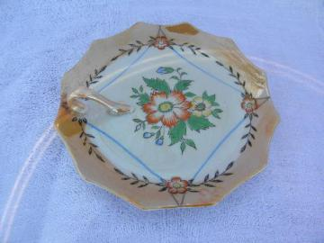 luster and flowers hand-painted china, vintage Japan lemon server plate