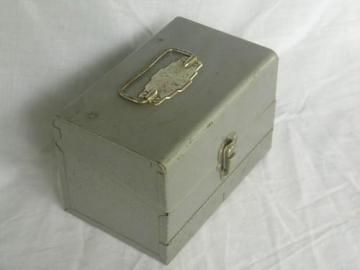 machine age metal storage box or case for movie film/audio tape reels