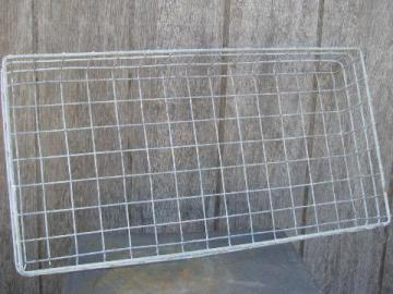 machine age vintage wire storage basket, large bread carrier tray