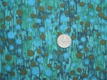 mad men vintage poly crepe fabric, 60s retro print in blue & green