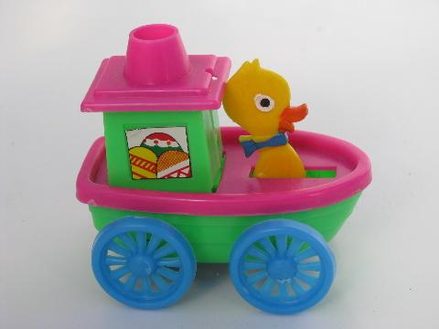 made in Hong Kong hard plastic toy cars, Easter bunny auto and duck