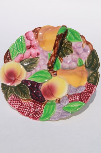 majolica style fruit twig handle lemon server, vintage Japan hand painted ceramic plate