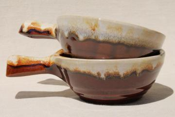 maple leaf mark Western stoneware, set of two stick handle bowls, vintage brown drip pottery