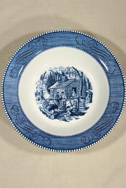 maple sugaring scene Currier & Ives, vintage blue and white transferware china serving bowl