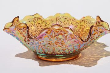 marigold amber iridescent vintage Fenton glass daisy & button pattern large crimped bowl