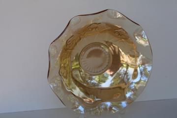 marigold iridescent Jeannette iris and herringbone floragold vintage carnival glass bowl