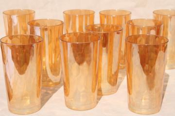 marigold iridescent luster vintage hex optic pattern glass tumblers, set of 10 drinking glasses