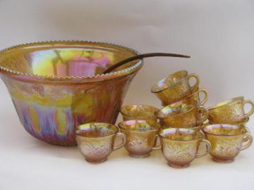 marigold luster carnival glass grapes punch bowl and cups, 70s vintage