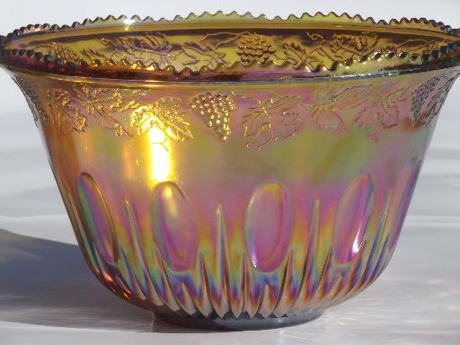 Marigold Luster Carnival Glass Grapes Punch Bowl Amp Cups