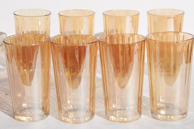 Marigold Luster Iridescent Glass Tumblers Set Of Vintage