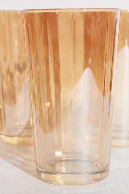 Marigold Luster Iridescent Glass Tumblers Set Of Vintage