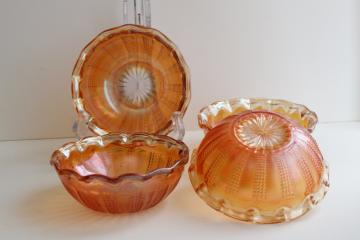 marigold orange carnival glass fruit bowls, Hazel Atlas diamond point columns pattern