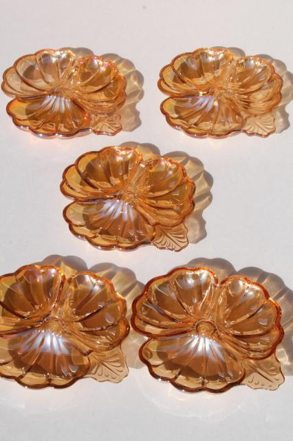 marigold peach luster glass flower dishes, vintage Jeannette glass lusterware copper tint