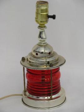 marine signal ship's lantern table lamp, retro 50s nautical style light