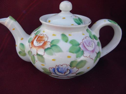 marked Occupied Japan hand-painted china teapot, vintage tea pot