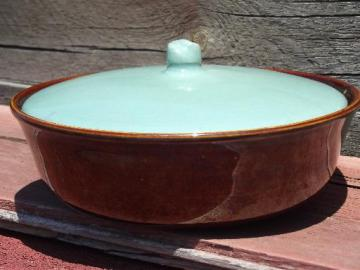marked Red Wing casserole dish, vintage Village Green pottery bowl and lid