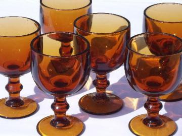 massive amber glass water goblets, vintage Imperial Hoffman House glasses