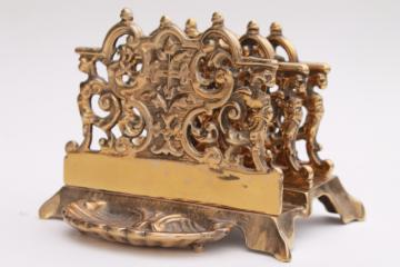 massive solid brass letter holder stand, vintage Victorian style desk accessory for papers