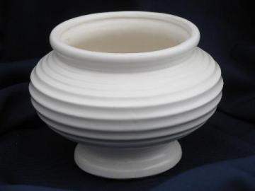 matte white Floraline McCoy pottery planter, mid-century mod vintage