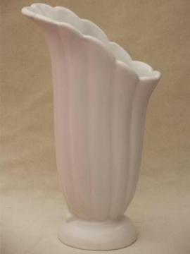matte white pottery vase, vintage Abingdon pottery art deco lily vase